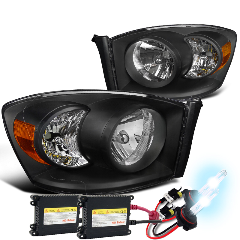 06 08 Dodge Ram 1500 2500 3500 Crystal Headlights Black Click To Enlarge
