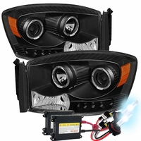 HID Xenon + 06-08 Dodge RAM 1500 2500 3500 Halo LED Projector Headlights - Black
