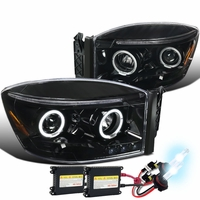 HID Xenon + 06-08 Dodge Ram Dual Halo & LED Strip Projector Headlights - Gloss Black / Clear