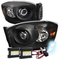 HID Xenon + 06-08 Dodge RAM 1500 2500 3500 Projector Headlights - Black