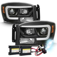 HID Xenon + 06-08 Dodge RAM 1500-3500 LED Tube Projector Headlights - Black
