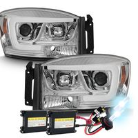 HID Xenon + 06-08 Dodge RAM 1500-3500 LED Tube Projector Headlights - Chrome