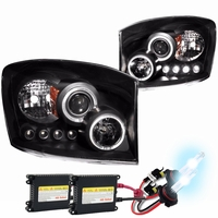 HID Xenon + 06-08 Dodge Ram Angel Eye Halo Projector Headlights - Black