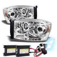 HID Xenon + 06-08 Dodge Ram Dual Angel Eye Halo & LED Projector Headlights - Chrome