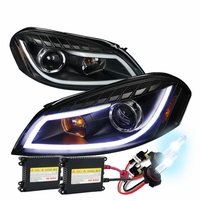 HID Xenon + 06-13 Chevy Impala LED DRL Strip Projector Headlights - Black