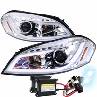 HID Xenon + 06-13 Chevy Impala LED DRL Strip Projector Headlights - Chrome