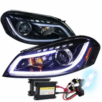 HID Xenon + 06-13 Chevy Impala LED DRL Strip Projector Headlights - Gloss Black