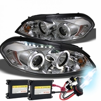 HID Xenon + 06-13 Chevy Impala / Monte Carlo Halo & LED Projector Headlights - Chrome