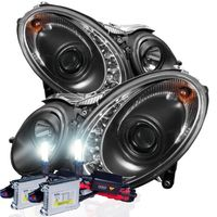 HID Xenon + 07-09 Mercedes Benz E-Class W211 DRL LED Projector Headlights - Black