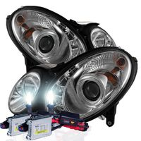 HID Xenon + 07-09 Mercedes Benz E-Class W211 DRL LED Projector Headlights - Chrome