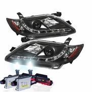 HID Xenon + 07-09 Toyota Camry LED DRL Projector Headlights - Black
