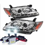 HID Xenon + 07-09 Toyota Camry LED DRL Projector Headlights - Chrome