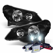 HID Xenon + 07-10 Chrysler Sebring OEM Replacement Crystal Headlights - Black