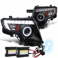 HID Combo 07-10 Ford Edge Halo & LED DRL Projector Headlights - Black
