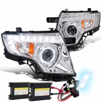 HID Combo 07-10 Ford Edge Halo & LED DRL Projector Headlights - Chrome