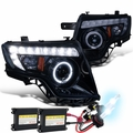 HID Combo 07-10 Ford Edge Halo & LED DRL Projector Headlights - Glossy Black