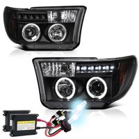 HID Xenon + 07-13 Toyota Tundra Angel Eye Halo / LED Projector Headlights - Black