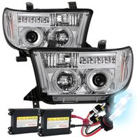 HID Xenon + 07-13 Toyota Tundra Angel Eye Halo / LED Projector Headlights - Chrome