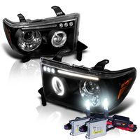 HID Xenon + 07-13 Toyota Tundra / Sequia Angel Eye Halo & LED Projector Headlights - Black