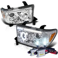 HID Xenon + 07-13 Toyota Tundra / Sequia Angel Eye Halo & LED Projector Headlights - Chrome