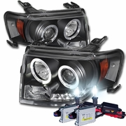 HID Xenon + 08-12 Ford Escape Angel Eye Halo & LED Strip Projector Headlights - Black