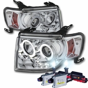 HID Xenon + 08-12 Ford Escape Angel Eye Halo & LED Strip Projector Headlights - Chrome