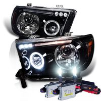 HID Xenon + 07-13 Toyota Tundra / Sequoia Angel Eye Halo & LED Projector Headlights - Gloss Black