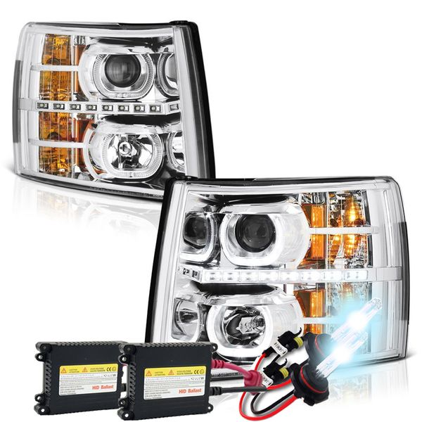 HID Xenon + 07-13 Chevy Silverado SMD LED Halo Projector Headlights - Chrome