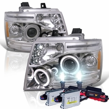 HID Xenon + 07-14 Chevy Suburban / Tahoe / Avalanche Angel Eye Halo & LED Projector Headlights - Chrome