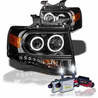 HID Xenon + 07-13 Ford Expedition CCFL Angel Eye Halo LED Projector Headlights - Black