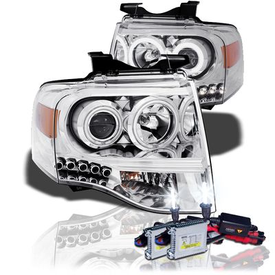 HID Xenon + 07-13 Ford Expedition CCFL Angel Eye Halo LED Projector Headlights - Chrome