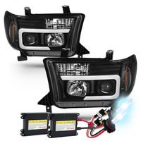HID Xenon + 07-13 Toyota Tundra / 08-17 Sequoia LED Tube Projector Headlights - Black