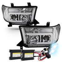 HID Xenon + 07-13 Toyota Tundra / 08-17 Sequoia LED Tube Projector Headlights - Chrome