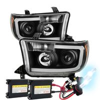 HID Xenon + 07-13 Toyota Tundra LED DRL Optic Projector Headlights - Black