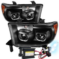 HID Xenon + 07-13 Toyota Tundra / Seuoia LED Halo Angel Eye Projector Headlights - Black