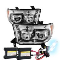 HID Xenon + 07-13 Toyota Tundra / Seuoia LED Halo Angel Eye Projector Headlights - Chrome