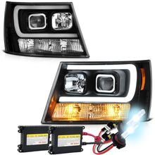 HID Xenon + 07-14 Chevy Suburban 1500/2500 / Chevy Tahoe/ Avalanche V2 LED DRL Projector Headlights - Black