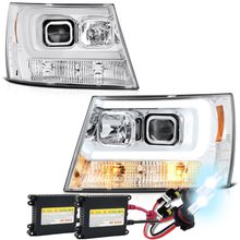 HID Xenon + 07-14 Chevy Suburban 1500/2500 / Chevy Tahoe/ Avalanche V2 LED DRL Projector Headlights - Chrome