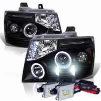 HID Xenon + 07-14 Chevy Suburban / Tahoe / Avalanche Angel Eye Halo & LED Projector Headlights - Black