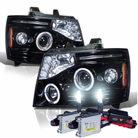 HID Xenon + 07-14 Chevy Suburban / Tahoe / Avalanche Angel Eye Halo & LED Projector Headlights - Gloss Black