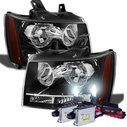 HID Combo 07-14 Chevy Suburban Tahoe Avalanche Crystal Replacement Headlights - Black