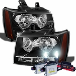 HID Xenon + 07-14 Chevy Suburban Tahoe Avalanche Crystal Replacement Headlights - Black