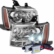 HID Combo 07-14 Chevy Suburban Tahoe Avalanche Crystal Replacement Headlights - Chrome