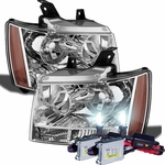 HID Xenon + 07-14 Chevy Suburban Tahoe Avalanche Crystal Replacement Headlights - Chrome