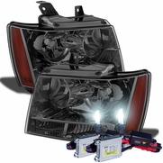 HID Combo 07-14 Chevy Suburban Tahoe Avalanche Crystal Replacement Headlights - Smoked