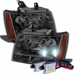 HID Xenon + 07-14 Chevy Suburban Tahoe Avalanche Crystal Replacement Headlights - Smoked