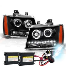 HID Xenon + 07-14 Chevy Suburban Tahoe Avalanche LED DRL Halo Projector Headlights - Black