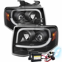 HID Xenon + 07-14 Ford Expedition LED Tube + LED Signal Projector Headlights - Black