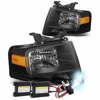 HID Xenon + 07-14 Ford Expedition U324 OEM-Style Crystal Headlights - Black Amber