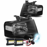 HID Xenon + 07-14 Ford Expedition U324 OEM-Style Crystal Headlights - Black Clear